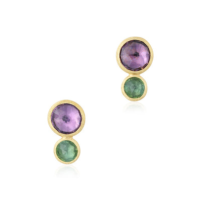 18K Yellow Gold Japiur Collection Drop Earrings with Amethyst and Tourmaline