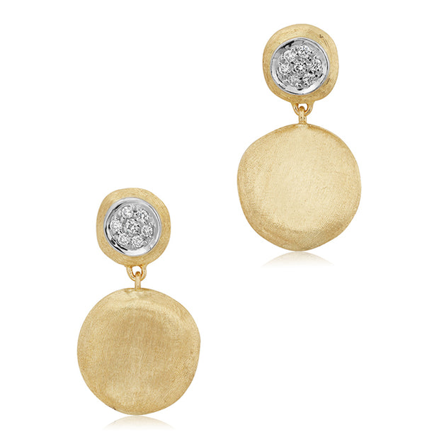 18K Yellow and White Gold Jaipur Collection Diamond Drop Earrings