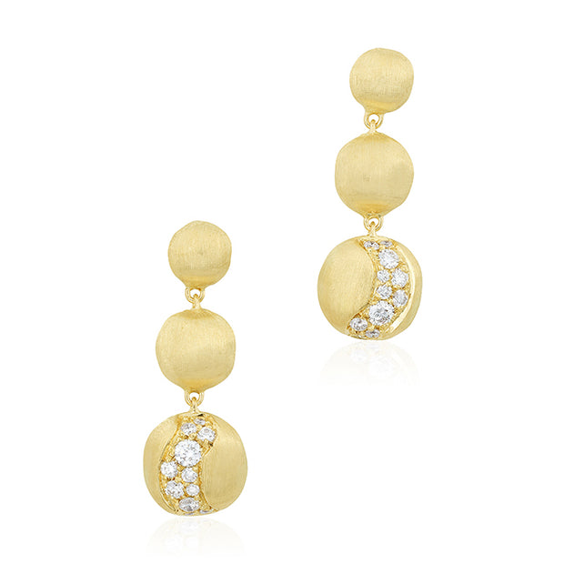 18K Yellow Gold Africa Collection Drop Earrings with Diamonds