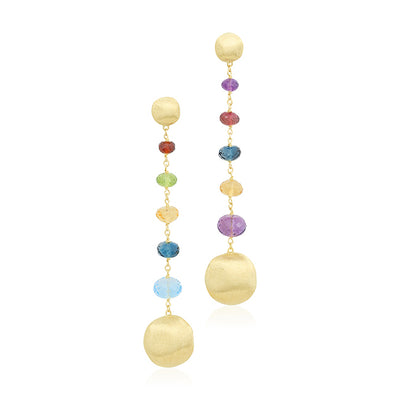 18K Yellow Gold and Multi Colored Gemstone Drop Earrings