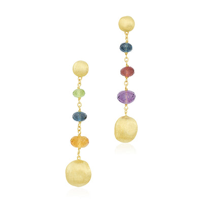 18K Yellow Gold and Multi Colored Bead Drop Earrings