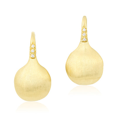 18K Yellow Gold Africa Collection  Engraved Bead Station Earrings with Diamonds