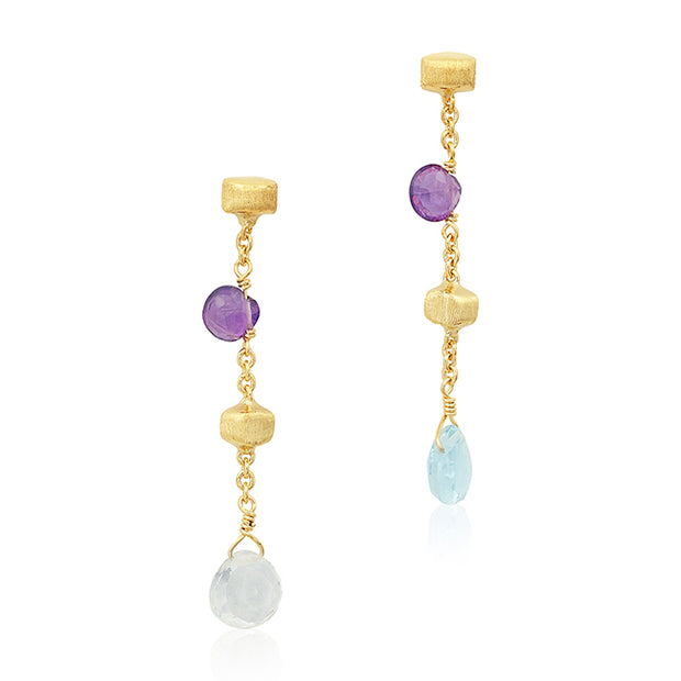 18K Yellow Gold Paradise Collection Mixed Stone Drop Earrings