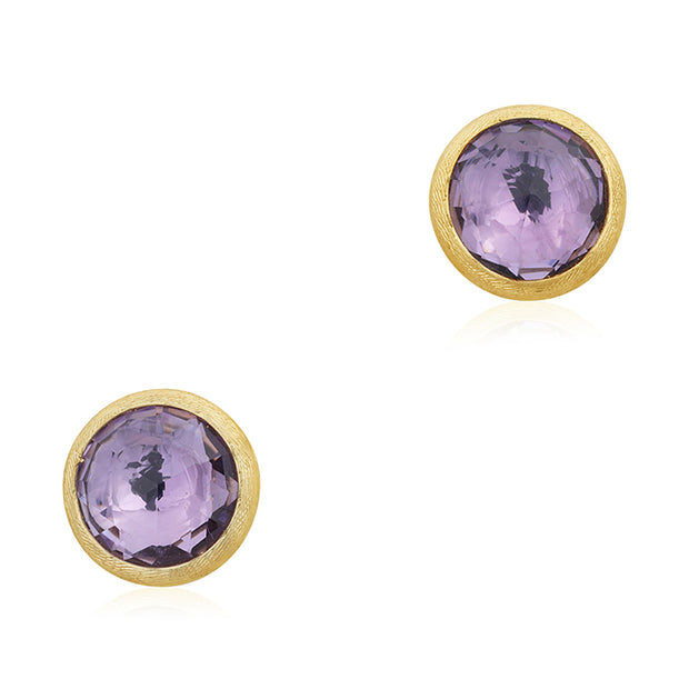 18K Yellow Gold Amethyst Stud Earrings