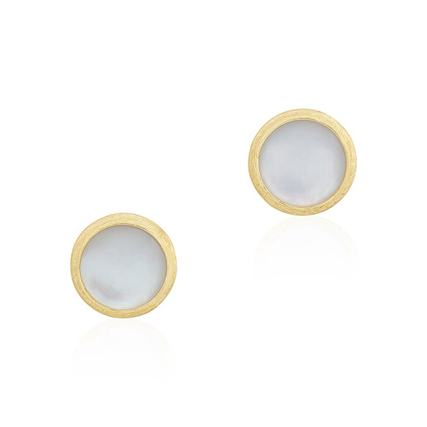 18K Yellow Gold Jaipur Collection Mother of Pearl Stud Earrings