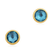 18K Yellow Gold Jaipur Collection Rose Cut Blue Topaz Stud Earrings