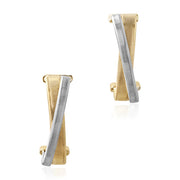 18K Yellow And White Gold Masai Collection Crossover Earrings