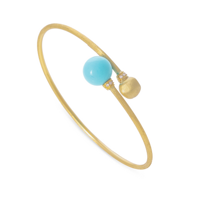 18K Yellow Gold Africa Collection Turquoise and Diamond Bracelet