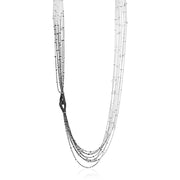 18K White Gold and Diamond Multi-strand Necklace