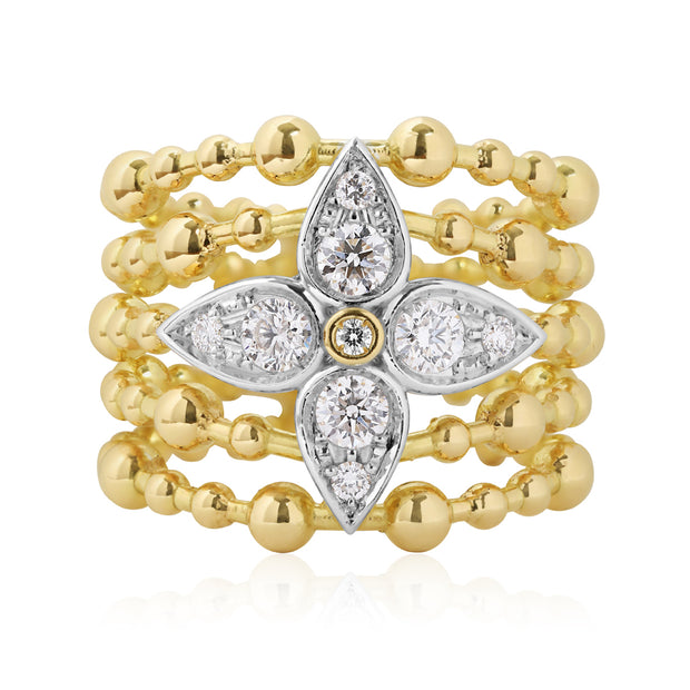 18K Yellow Gold 5 Row Floral Diamond Ring