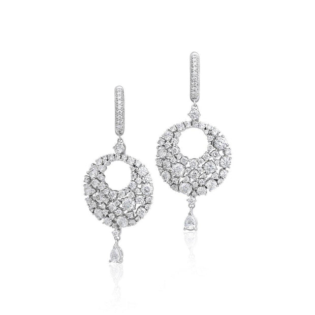 18K White Gold Eclipse Collection Diamond Drop Earrings