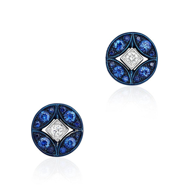 18K White Gold with Blue Rhodium Lucilla Earrings with Diamonds and Sapphires
