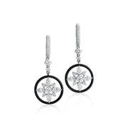 18K White Gold and Plated Black Alloy Circle Diamond Dangle Drop Earrings