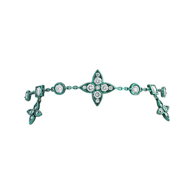 18K White Gold Lucilla Collection Green Rhodium and Diamond Station Bracelet