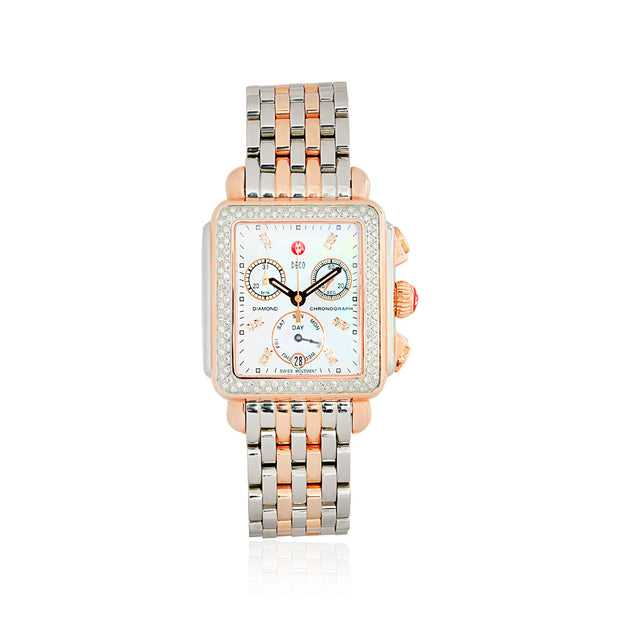 Deco Day Mother Of Pearl Diamond Dial Two-Tone Chronograph Watch