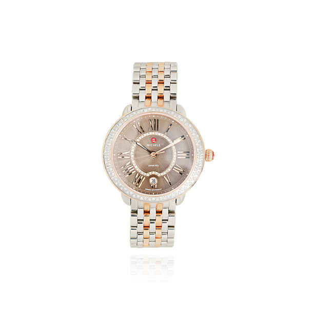 Serein Two-Tone Watch with Coco Dial and Link Bracelet