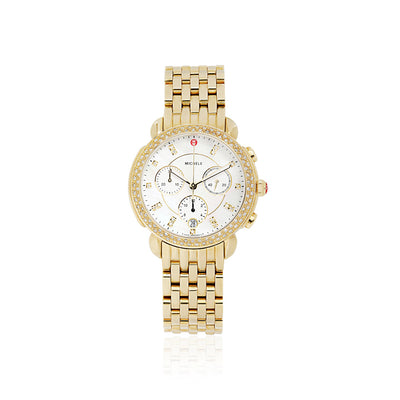 Sidney Gold Chronograph Watch with Diamond Bezel