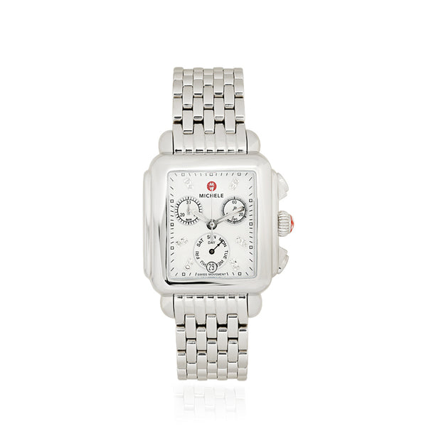 Stainless Steel Signature Deco Diamond Chronograph Watch
