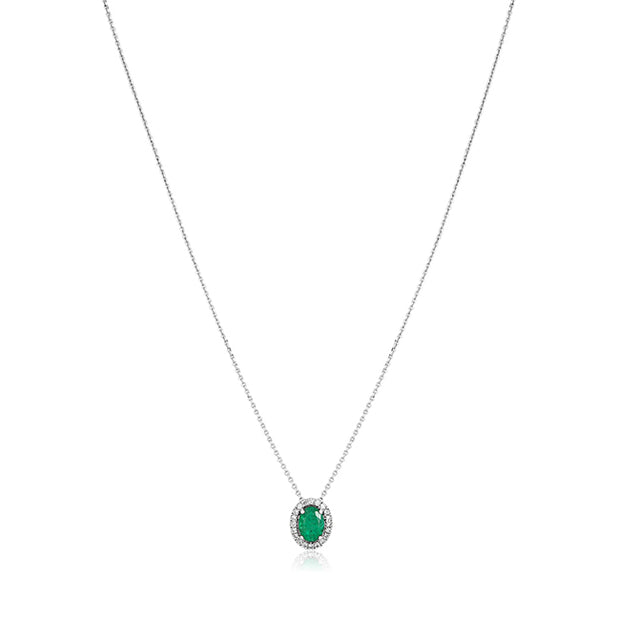 18K White Gold Oval Emerald and Diamond Halo Necklace