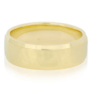 18K Yellow Gold Wedding Band with a Hammered Finish