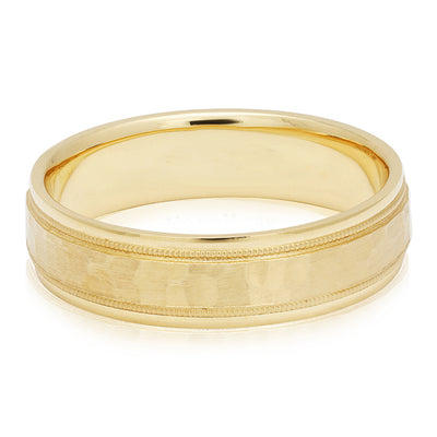 18K Yellow Gold Hammered Finish and Milgrain Detail Men's Wedding Band