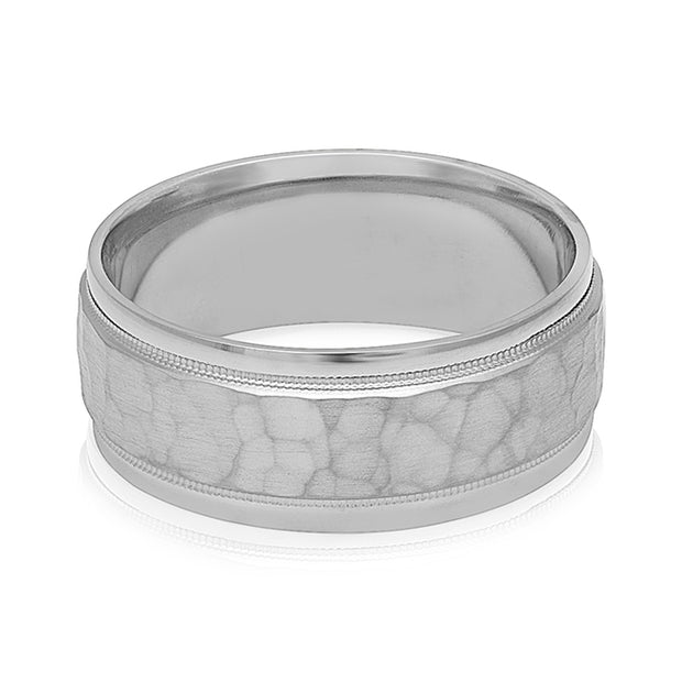 Palladium Hammered Finish Men's Wedding Band