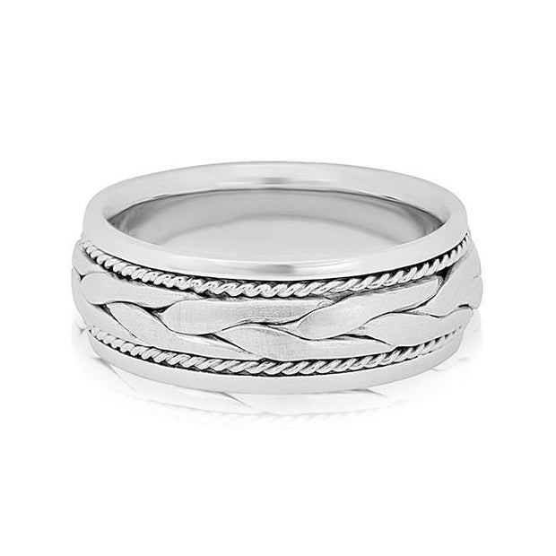 Platinum Braided Men's Wedding Band