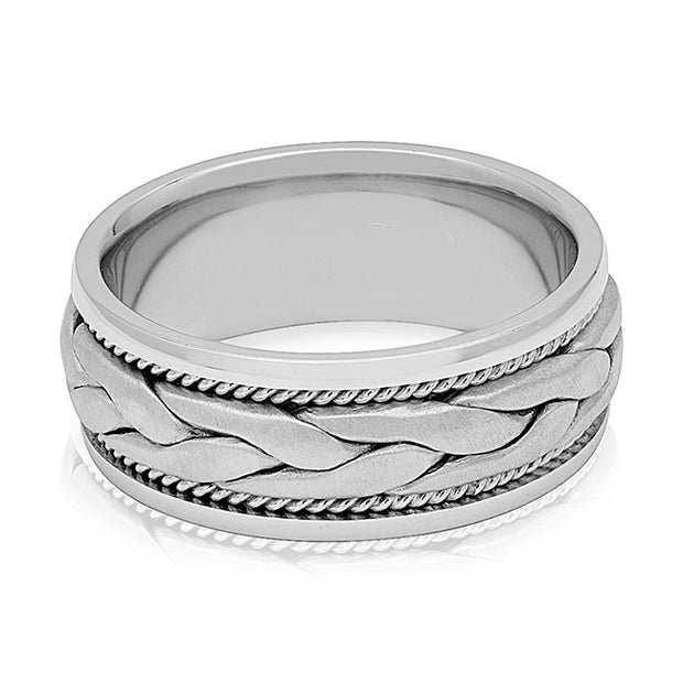 Palladium Scroll Design Men's Wedding Band