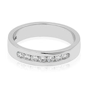14K White Gold Channel Set Diamond Men's Wedding Band