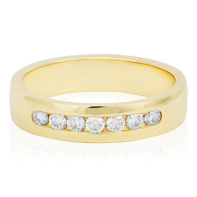 Novell 14K Yellow Gold Channel Set Diamond Men's Wedding Band
