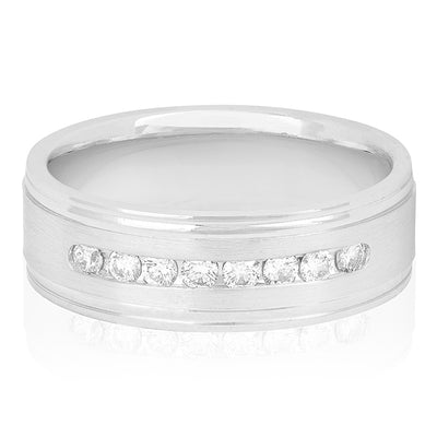 Men's 14K White Gold Grooved Edge Channel Set Diamond Men's Wedding Band
