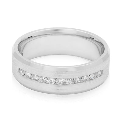 Novell 14K White Gold Channel Set Men's Diamond Wedding Band