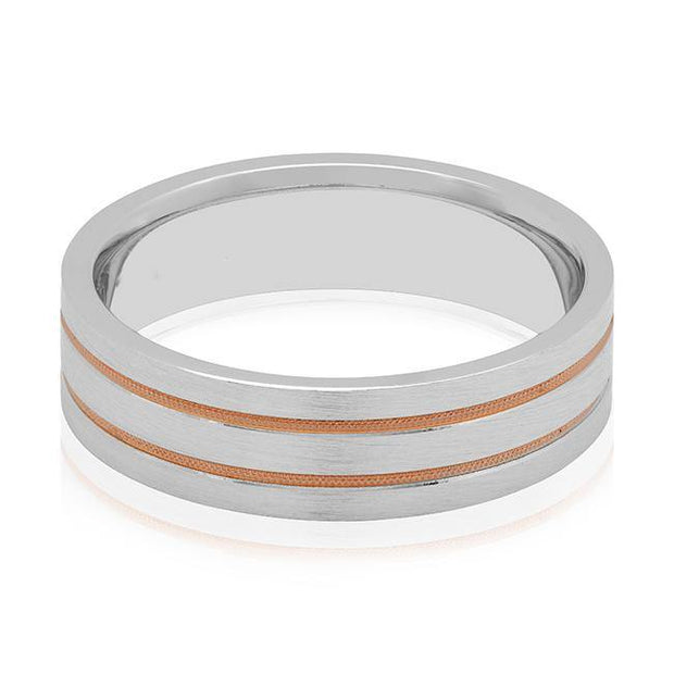18K White and Rose Gold Grooved Men's Wedding Band