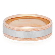Men's 18K White and Rose Gold Hammered Finish Men's Wedding Band