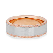 18K White and Rose Gold Brushed Finish Men's Wedding Band With Coined Edges