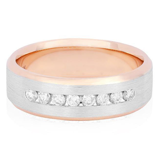 18K White and Rose Gold Channel Set Diamond Men's Wedding Band