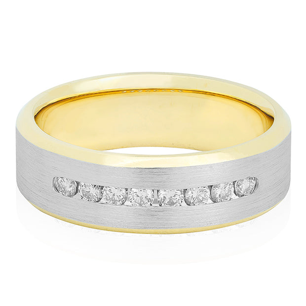 Novell Men's 18K White and Yellow Gold Diamond Wedding Band