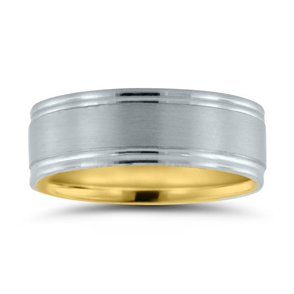 18K Yellow Gold and Platinum Men's Wedding Band