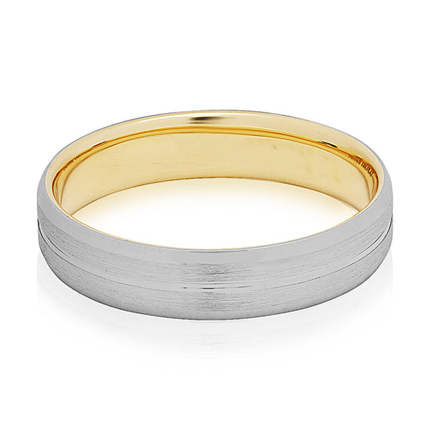 18K Yellow Gold and Platinum Satin Finish Grooved Men's Wedding Band