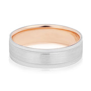 18K Rose Gold And Platinum Brushed Finish Grooved Men's Wedding Band