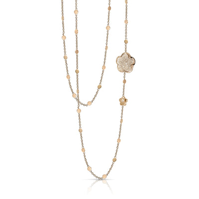 18K Rose Gold Bon Ton Collection Flower Station Champagne Diamond Necklace