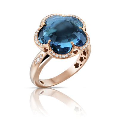 18K Rose Gold Bon Ton Collection Diamond and London Blue Topaz Ring