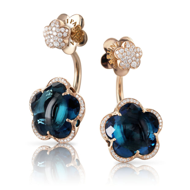 18K Rose Gold Bon Ton Collection Diamond and London Blue Topaz Earrings