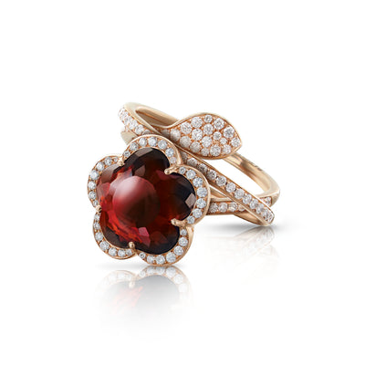 18K Rose Gold Je T'aime Bon Ton Red Garnet and Champagne Diamond Ring