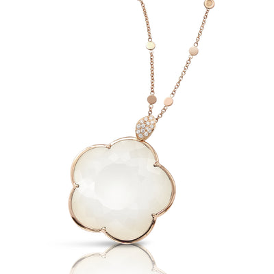 18K Rose Gold Bon Ton White Agate/Mother of Pearl Doublet and Diamond Necklace