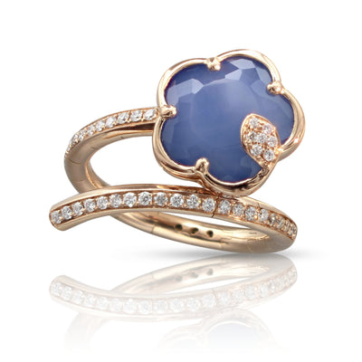 18K Rose Gold Je T'aime Bon Ton White Agate/Lapis Lazuli Doublet and Champagne Diamond Ring