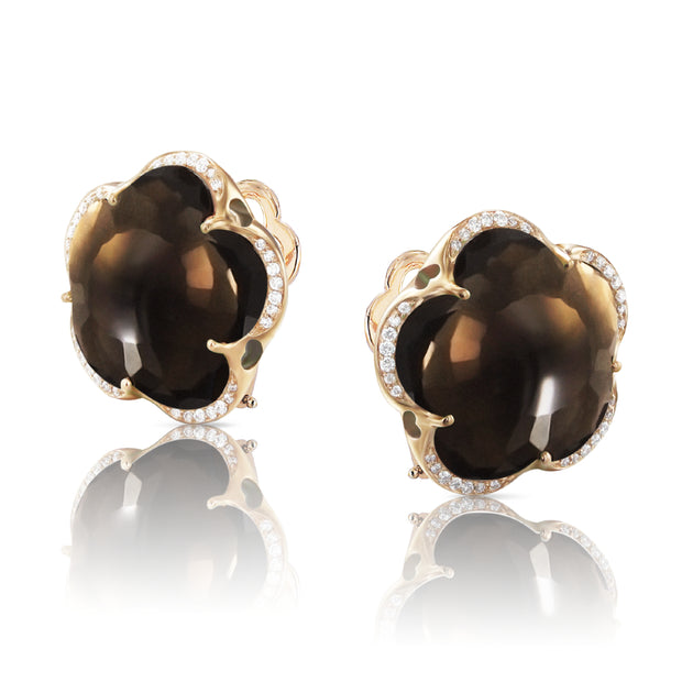 18K Rose Gold Bon Ton Collection Flower Smoky Quartz and Diamond Stud Earrings