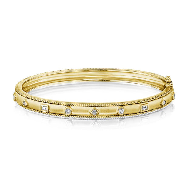 18K Yellow Gold Amulet Diamond Bangle