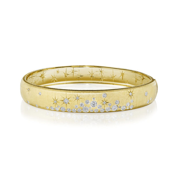 18K Yellow Gold Wide Galaxy Diamond Bangle