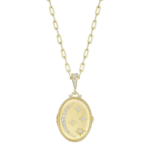 18K Yellow Gold Oval Moon and Star Diamond Locket